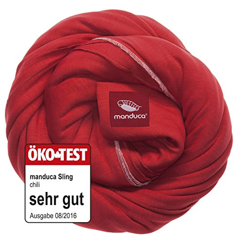 manduca Sling > Chili < Elastisches Tragetuch 100% Bio-Baumwolle GOTS-Zertifikat, 3 Bindeanleitungen, für Neugeborene und Babys bis 15 kg, rot
