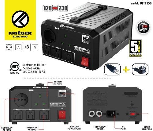 KRIËGER 1150 Watt Spannungswandler 110/120V - 220/230V mit CE/UL/CSA Zulassung -