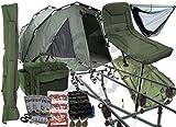 Komplette Angelausrüstung, fürs Karpfenfischen, inklusive Biwak-Zelt, 3Angelruten, Angelrollen und Stuhl, mit Angelrutentasche und Ausrüstungstasche