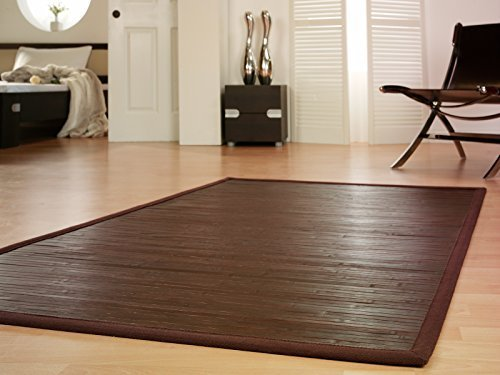 Bambus-brücke (Bambusteppich WENGE 200x300cm, 17mm Stege, breite Bordüre, massives Bambus | Bordürenteppich | Teppich | Bambusmatte | Wohnzimmer | Küche DE-Commerce | nachhaltig und ökologisch.)