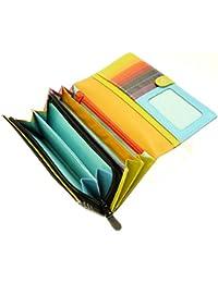 Mesdames polyvalent souple Porte-monnaie cuir véritable détenteur de la carte de crédit avec Purse & Porte-Monnaie / Section - Pour 12 Cartes de crédit - Black & Multi-couleur