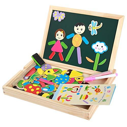 Qys Magnetpuzzle Tiere und Charaktere Puzzles Pädagogisches Holzspielzeug für Eltern-Kind-Interaktion Kinder 3 4 5 Jahre alt Doppelseitiges Zeichen- und Schreibbrett -