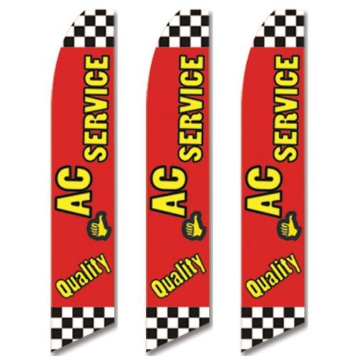 Ac-flag (3 (three) Pack Tall Swooper Flags Yellow Red Black QUALITY AC SERVICE by Super Ad Flag)