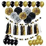 POAO DIY Party Dekorationsset, Partyzubehör inkl. Papierblumen Seidenquaste Girlande Party Ballons für Geburtstag, Party, Verlobung, Hochzeit, Babyparty Goldfarben und Schwarz