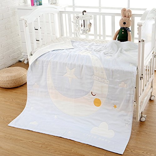 Mangeoo Cotton Six Layer Gauze, Pure Cotton Baby Bath Towel, 6 Layer Towel, Quilt Cover, Spring and Summer Thickening,6 Layers of Star and Moon Bend 110Cm
