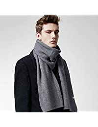 XIAOLIN-- Scarf Large Size Men 2017 Autumn and Winter Solid Color Anti-static Soft And Comfortable Gift Box Packaging --Outdoor warm scarf ( Color : Gray )