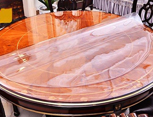 Nappes Ronde en Verre Souple en PVC Tapis De Table À Thé en Plastique Imperméable À l'huile (Couleur : Thickness -2mm, Taille : Diameter 120 cm)