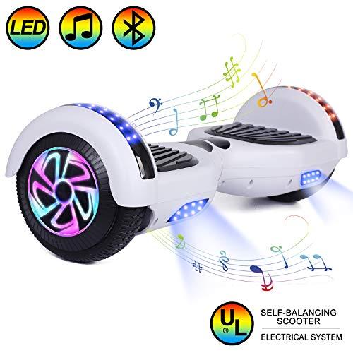 """HOVER-ONE Selbstausgleichender Elektroroller mit 2 Rädern, 6,5""""selbstausgleichendes Hoverboard für Kinder und Erwachsene mit Bluetooth, Swegway-Board mit kostenloser Tragetasche, LED-Licht (Weiß)"""