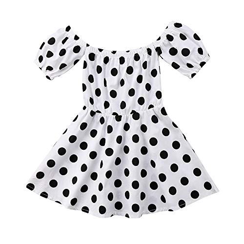 (IZHH Kinder Kleider, Kleinkind Kleinkind Baby Mädchen Kurzarm Polka Dot Schulterfrei Prinzessin Party Kleider Kleidung 12M-5Y Kinder Retro Kleid Prinzessin Kleider Outdoor Rock(Weiß,80))