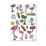 20 Flamingo-Sticker I dv_240 I DIN A4 Bogen I Mädchen Tropical-Aufkleber für Laptop Handy Möbel Tür Scrapbooking Schultüte Kindergeburtstag