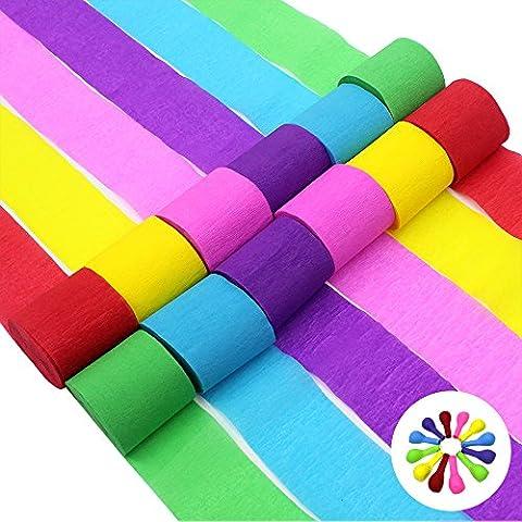JUSLIN 24 Rolls 6 couleurs Crêpe Streamer en papier pour la décoration de mariage de fête, avec 12 ballons colorés en cadeau