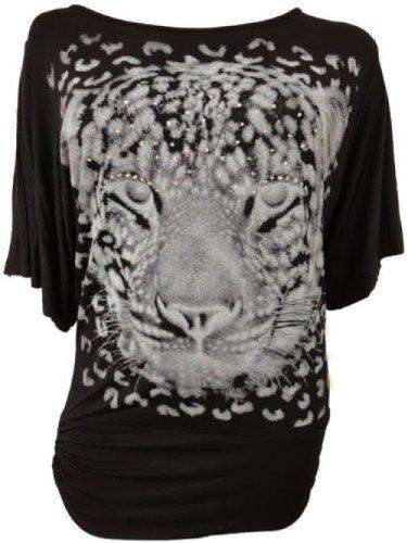 Damen plus size Pailletten Tigerdruck Baggy Fledermaus Tunika Tops lumpen Kleid Black