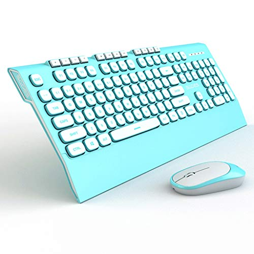 Kabellose Tastatur und Maus Set Game Office Home Eingabe schlank Silent Palm Rest Multimedia Receiver, QWERTY Tastatur (Farbe : Aqua Blue) -