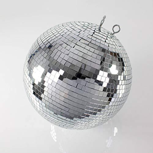 showking Große Discokugel GLIX mit Echtglasfacetten, Ø 40cm, Silber - Spiegelkugel - 70er 80er Jahre Mottoparty