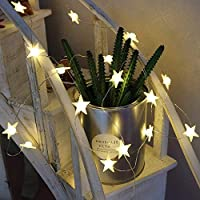 Vimlits 2.2m Star Shaped LED Copper String Lights Battery Operated Fairy String Lighting for Holiday Party Kids Bedroom Indoor Decor
