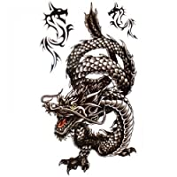 SPESTYLE waterproof non-toxic temporary tattoo stickersCool and waterproof black dragon temp tattoos for men