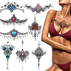 Phogary Temporäre Tattoos (8 er-Pack), Body Art Aufkleber set für Frauen Brust/Taille/unterer Rücken, Wasserdicht, Sexy Modelle