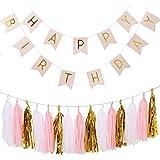Ailiebhaus Anniversaire Bruant Bannière Guirlandes Golden Pack avec des Glands de papier pour Happy Birthday Décorations