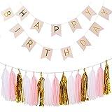 Ailiebhaus Happy Birthday Deko-Set Flaggenkette Banner,mit Quaste Girlande DIY Tassels(Gold + Weiß + Pink) (Pink)