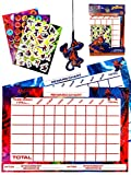 Spiderman Reward Chart with stickers - 2 reward charts 96 reward stickers 1 pen 1 Spider-man cut out - behaviour charts for children & toddlers - potty training - kids weekly planner - stickers chore