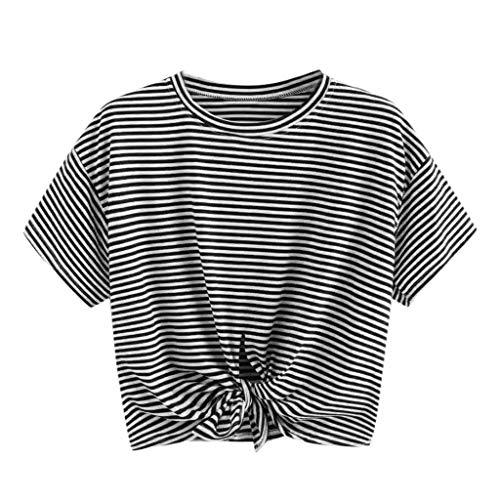 Damen Mode Crop Tank Tops Ärmelloses T-Shirt Gestreiftes Camisole -