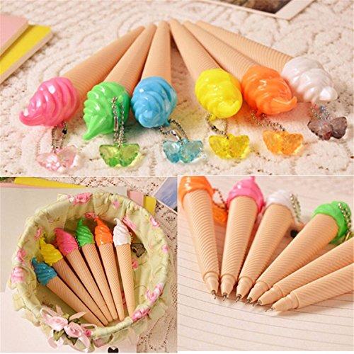 CAMTOA-Lotto da 5 penne a sfera, cono gelato Ice cream Creative Stationery Pen Gel a inchiostro liquido, colore: blu