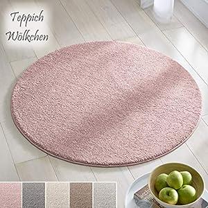 Teppich Wölkchen Kurzflor Teppich I Flauschige Flachflor Teppiche fürs Wohnzimmer, Esszimmer, Schlafzimmer oder Kinderzimmer I Einfarbig I Rosa - 120 rund