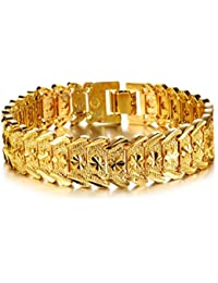 AnaZoz Joyería de Moda Pulsera Brazalete de Hombre 18K Chapado en Oro Compromiso de Boda Pulsera Para Hombre Color Oro