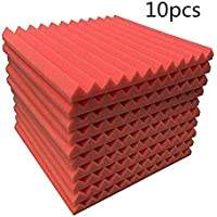 Material a prueba de fuego cuña de espuma, algodón insonorizado KTV silenciador de absorción de sonido de algodón triángulo ranura de aislamiento acústico de espuma (rojo)