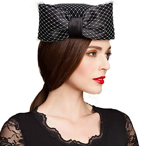 TOBEEY Frauen Fascinators Pillbox Hut Wollfilz Hüte Lady Kentucky Derby Kirche hat