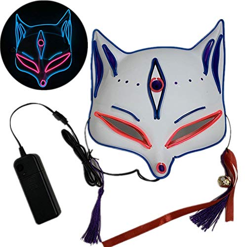 JFSKD Halloween Maske LED Fuchs Maske Halloween Karneval Karneval Party Kostüm Cosplay Dekoration