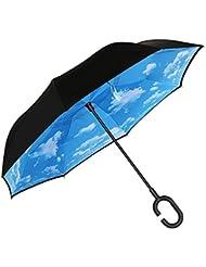 """Umgekehrter Regenschirm, Opret Kreativer Schirme Winddichtes Reversion Regenschirm Folding Double Layer Sunblock Hände frei mit """"C Griff"""