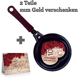 Set Geldpfanne 2tlg. / Hochzeitsgeld zum verbraten / rote Rosen / zum Geld verschenken / Geldgeschenk Hochzeit