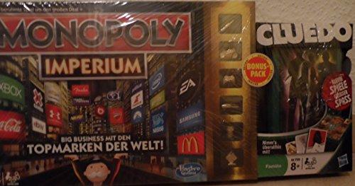Monopoly Imperium Big Business mit den Topmarken der Welt + Cluedo für Unterwegs Familien Edition