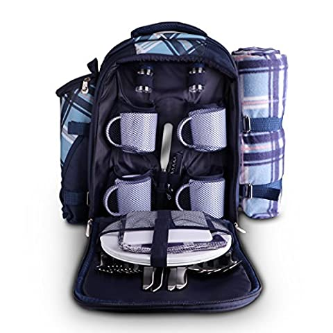 Outdoor Picnic Backpack for 4 Person With Cooler Compartment, Detachable Bottle/Wine Holder, Fleece Blanket, Plates and Flatware Cutlery Set -