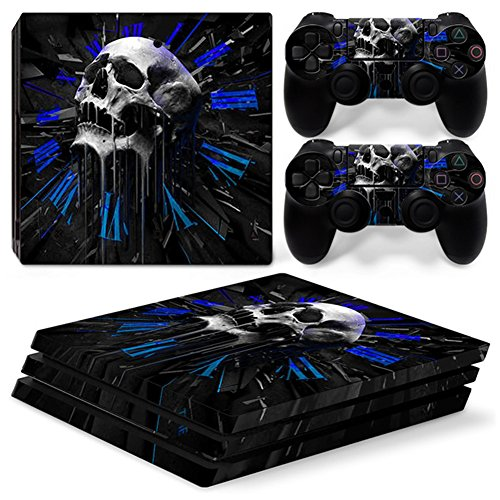 Stillshine PS4Pro Vinyl Skin Decal selbstklebender Aufkleber für Playstation 4Pro Konsole & 2Dualshock Controller im Set schwarz Skull Rome