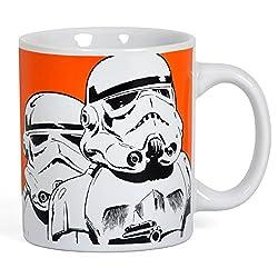 Elbenwald Star Wars SW31 Stormtrooper Tasse Keramik mit 2 Motiven 300ml orange