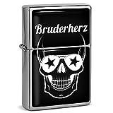 PhotoFancy® - Sturmfeuerzeug Set mit Namen Bruderherz - Feuerzeug mit Design Totenkopf - Benzinfeuerzeug, Sturm-Feuerzeug