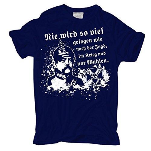 Männer und Herren T-Shirt Bismarck Jagd Wahlen Krieg Dunkelblau