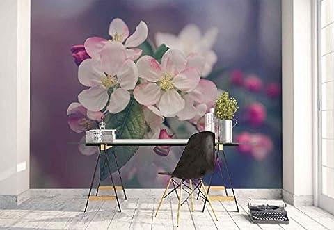 Vlies Fototapete Fotomural - Wandbild - Tapete - Blumen Ast Rosa - Thema Blumen - MUSTER - 104cm x 70.5cm (BxH) - 1 Teilig - Gedrückt auf 130gsm Vlies - FW-1027VEM