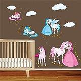 decalmile Licorne Conte De Fée Princesse Stickers Muraux Nuage Cheval Amovible Autocollant Stickers pour Chambre Bébé Chambre Enfant Chambre Pépinière