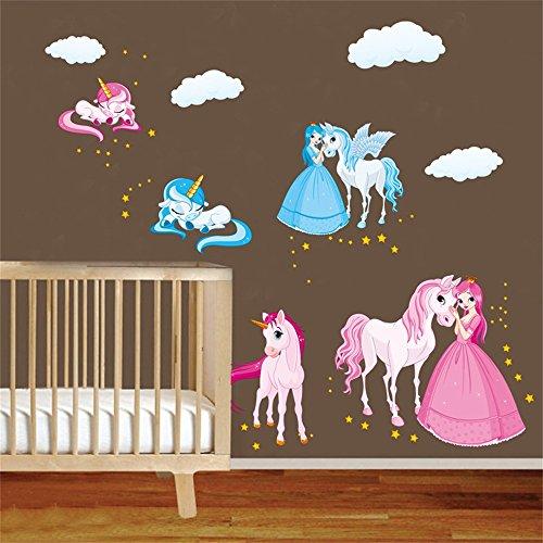 DecalMile Einhorn Fee Prinzessin Wandsticker Wolke Pferde Wandtattoo Herausnehmbar Wandaufkleber Wandbilder für Kinderzimmer Kinder Babyzimmer (Pferd Fliese Wandbild)