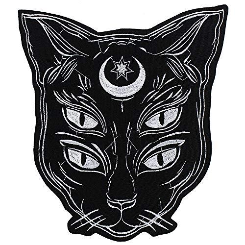 EMDOMO Fashion Schwarze Katze Stickerei Patches zum Aufbügeln Aufkleber DIY für Punk-Jacken-Rücken-Abzeichen Scrapbooking dekoriert Nähen 1 Stück (Patches Punk Rücken)