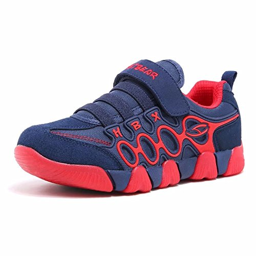 Jungen Running Sneakers Hook & Loop Mädchen leichte Sportart Schuhe Turnschuhe für Unisex-Kinder: Gr. EU37, Blau/Rot