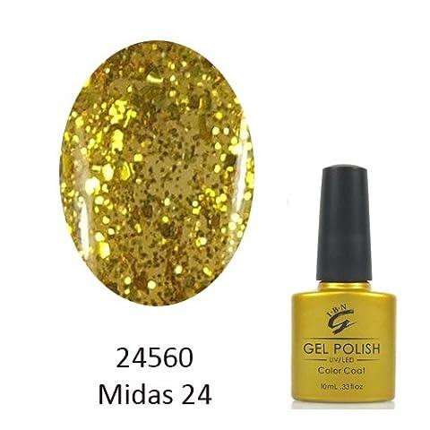 IBN UV/LED Gel Nail Polish Glitter (24560 (Glitter Gold)Midas 24)