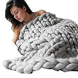 OVERDOSE Hand Chunky Strickdecke Decke Garn Merino Wolle Bulky Knitting Throw Blanket Decke (80x100cm, C)