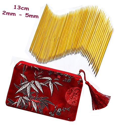 ADF TM 11 x 5 (55 Stück) 13cm Stärken 2mm - 5mm Strumpfstricknadeln Set aus Natürlichen Bambus Etui aus Seide - Seide Stricken Tasche