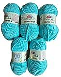 5pelotes de laine Super Bulky à tricoter de 100g - Himalaya Dolphin - Pour bébé - Poids total : 500g, Türkis 80315, 35_x_25 CM