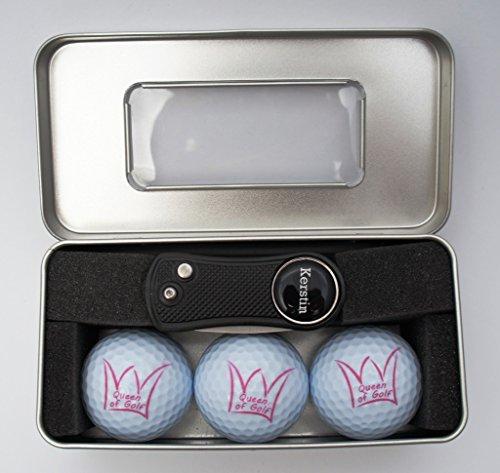 RoLoGOLF Golfgeschenk-Box - mit 3 Bällen Queen of Golf und aufklappbarer Pitchgabel mit personalisiertem Golfball-Marker -