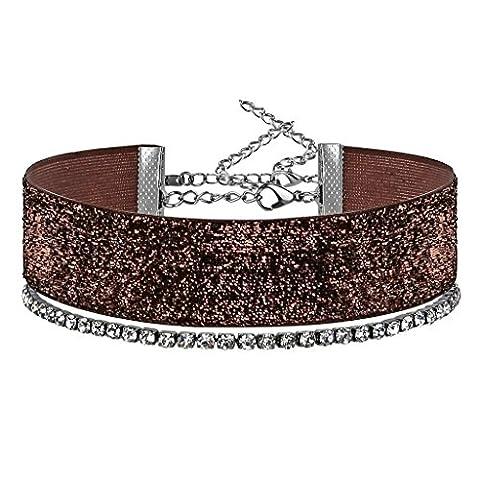 KnSam Ras du Cou Choker Collier Alliage Bead Shine Classique Cristal Argent Brun [Fille Gothique]